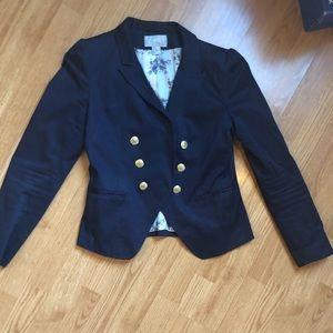 Navy Blue floral interior blazer